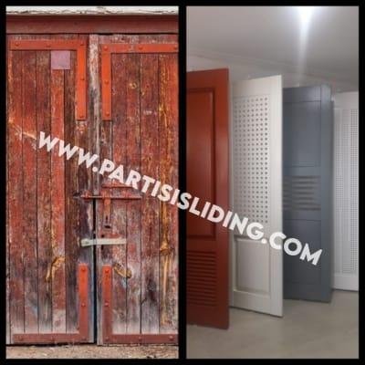 pintu garasi karatan dan tidak karatan